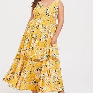 Torrid yellow floral challis maxi dress 2 2X